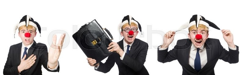 Stock image of 'Collage of clown businessman isolated on white'