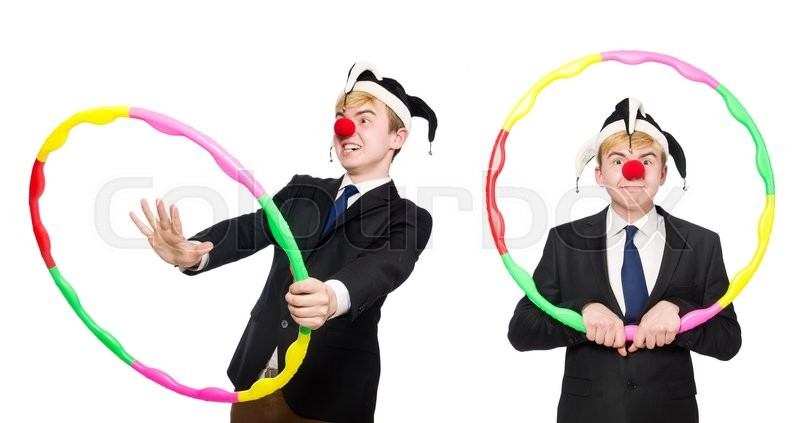 Stock image of 'Businessman clown in funny concept isolated on white'