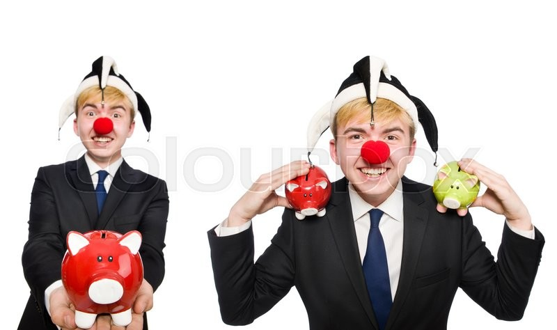 Stock image of 'Clown with piggybank in funny concept'