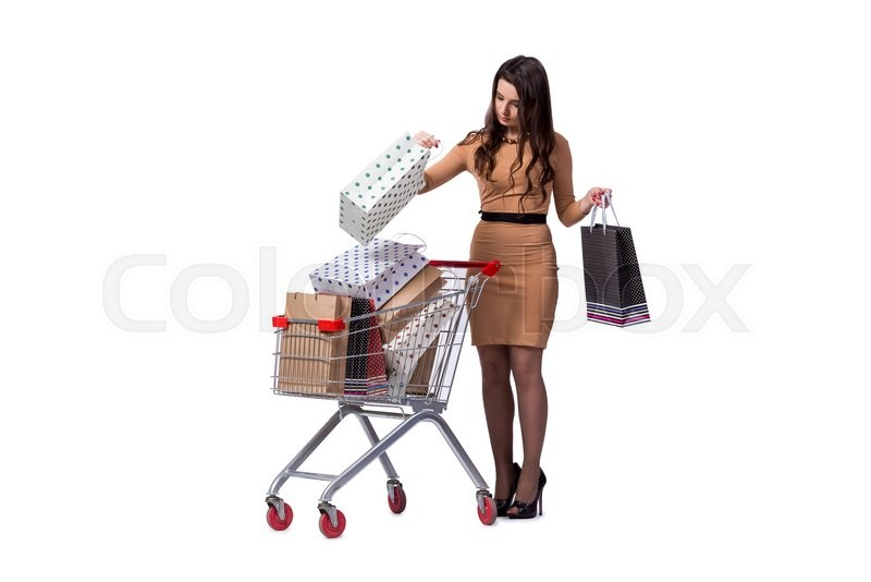 Stock image of 'Happy woman after good shopping isolated on white'