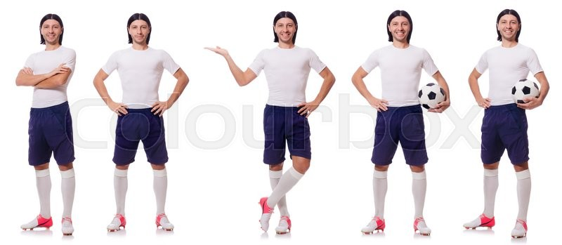 Stock image of 'Young male football player isolated on white'