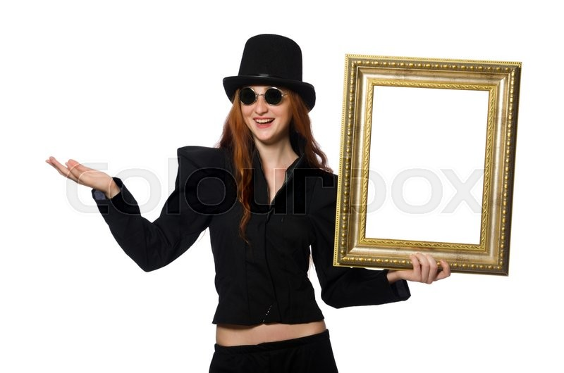 Stock image of 'Woman with picture frame isolated on white'