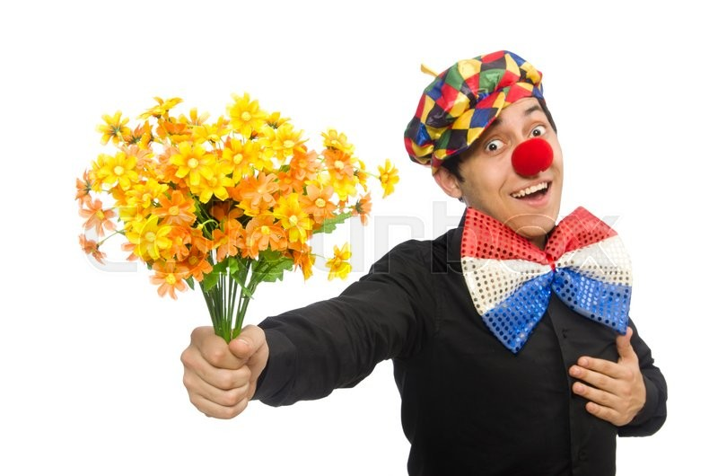 Stock image of 'Funny clown with flowers isolated on white'