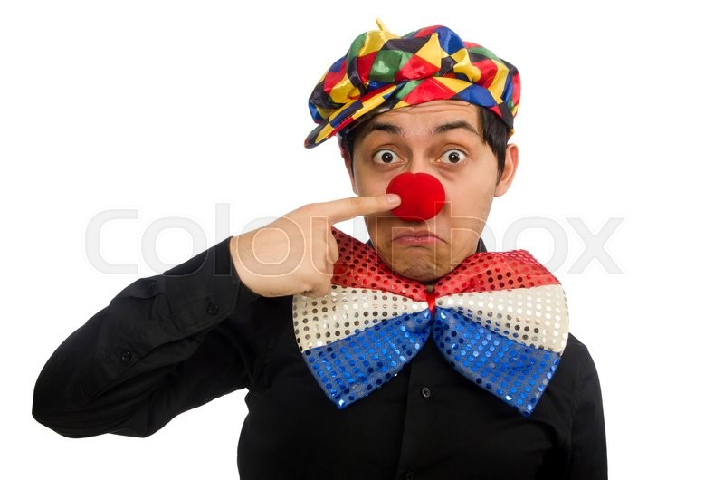 Stock image of 'Sad clown isolated on the white'