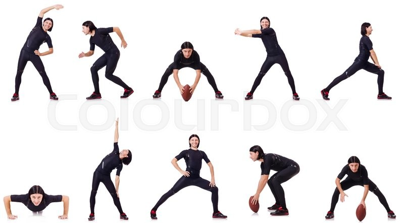 Stock image of 'Young man doing exercises on white'