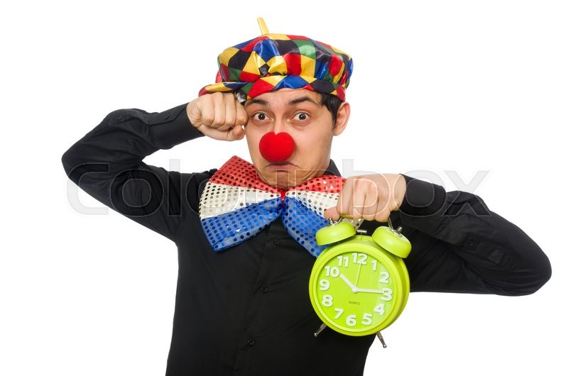 Stock image of 'Funny clown with clock isolated on white'