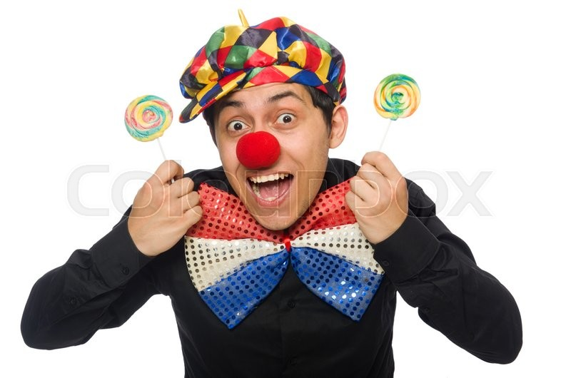 Stock image of 'Funny clown with lollipop isolated on white'