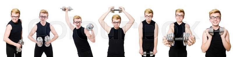 Stock image of 'Man with dumbbells isolated on white'