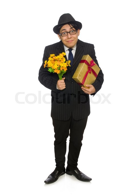 Stock image of 'Funny man with flowers and giftbox'