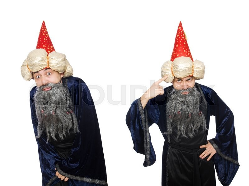 Stock image of 'Funny wise wizard isolated on the white'