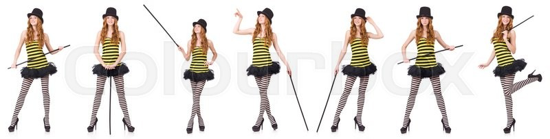 Stock image of 'A girl in black and yellow striped dress isolated on white'