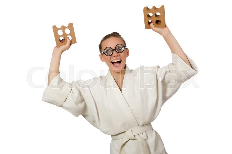 Stock image of 'Funny woman in kimono with brick on white'