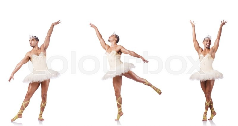 Stock image of 'Man in ballet tutu isolated on white'