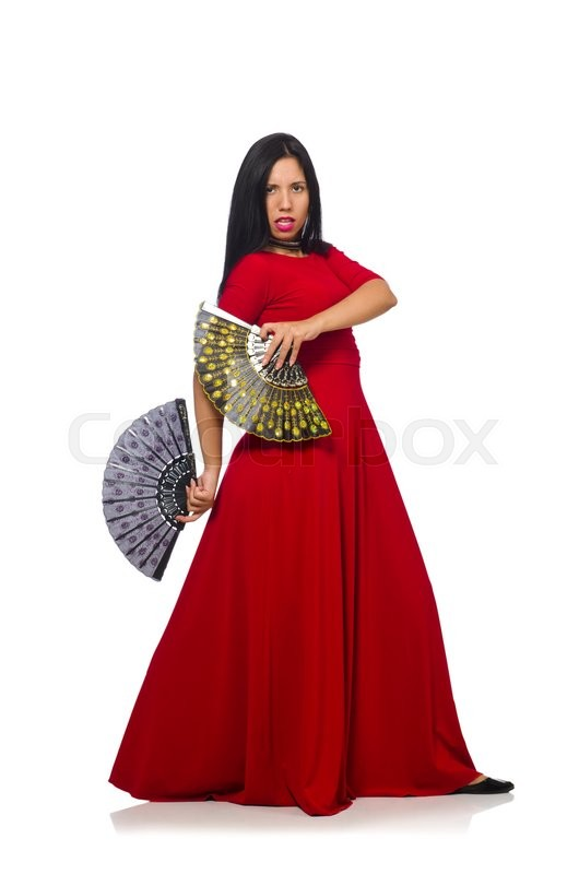 Stock image of 'Woman in red dress with fan isolated on white'