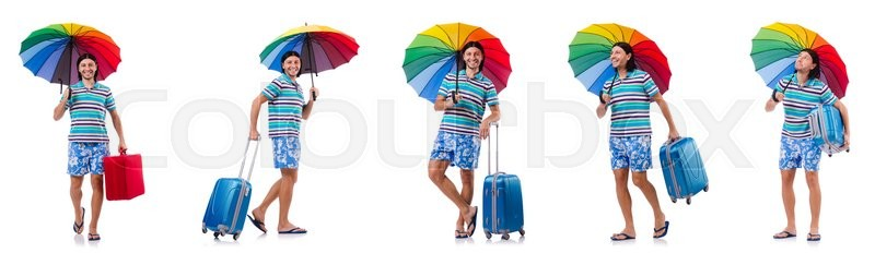 Stock image of 'Traveler with red case  and umbrella isolated on white'