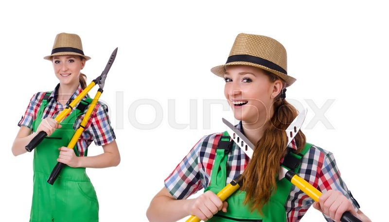 Stock image of 'Young woman with shears on white'