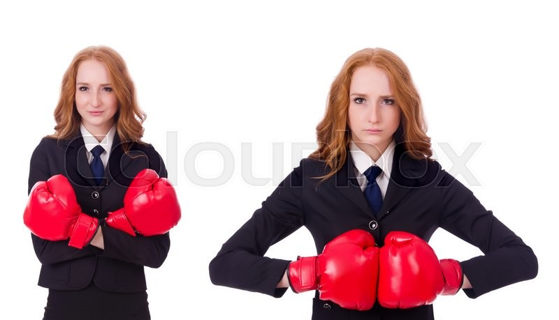 Stock image of 'Collage of woman businesswoman with boxing gloves on white'