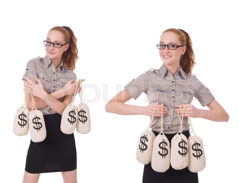 Stock image of 'Collage of young businesswoman with money sacks on white'