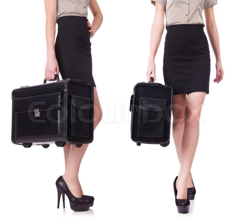 Stock image of 'Businesswoman in business concept isolated on white'