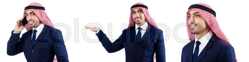 Stock image of 'Set of photos with arab businessman'