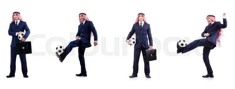 Stock image of 'Arab businessman with football'