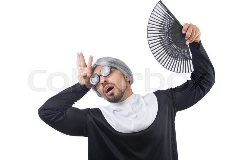Stock image of 'Man wearing nun costume isolated on white'