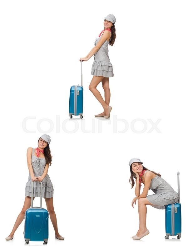 Stock image of 'Travelling woman with suitcase isolated on white'