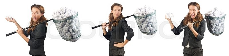 Stock image of 'Woman with catching net and papers'