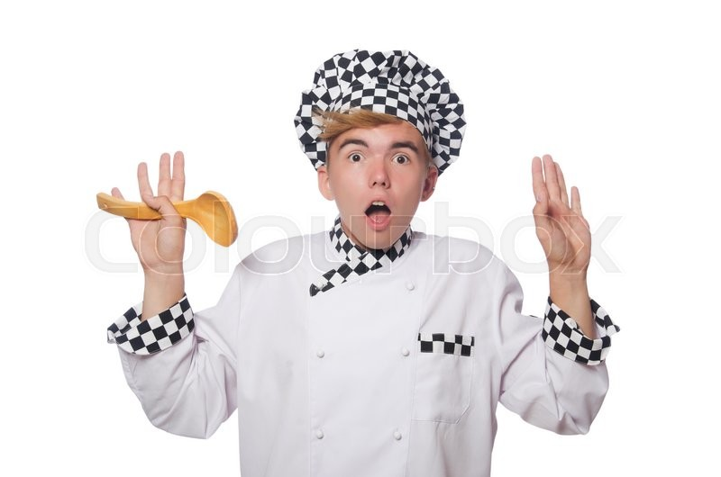 Stock image of 'Funny cook isolated on white'