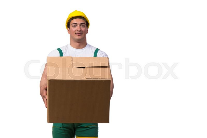 Stock image of 'Man moving boxes isolated on the white background'