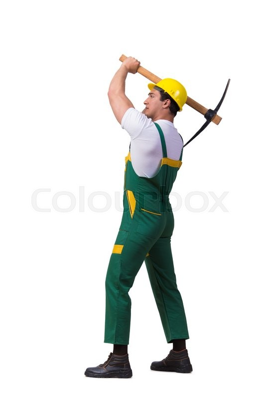 Stock image of 'Man in green coveralls with axe isolated on white'