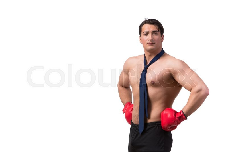 Stock image of 'Ripped businessman with boxing gloves isolated on white'