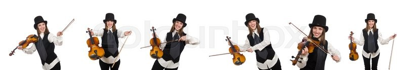 Stock image of 'Woman violin player isolated on white'