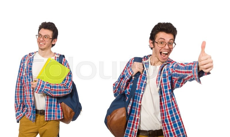 Stock image of 'Collage of student with backpack on white'