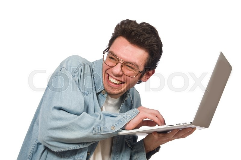 Stock image of 'Young student with laptop isolated on white'