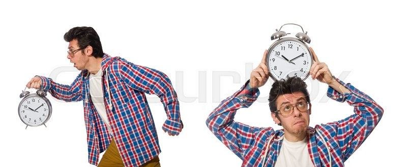 Stock image of 'Student with alarm clock isolated on white'