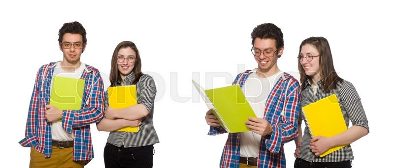 Stock image of 'Pair of students isolated on white'