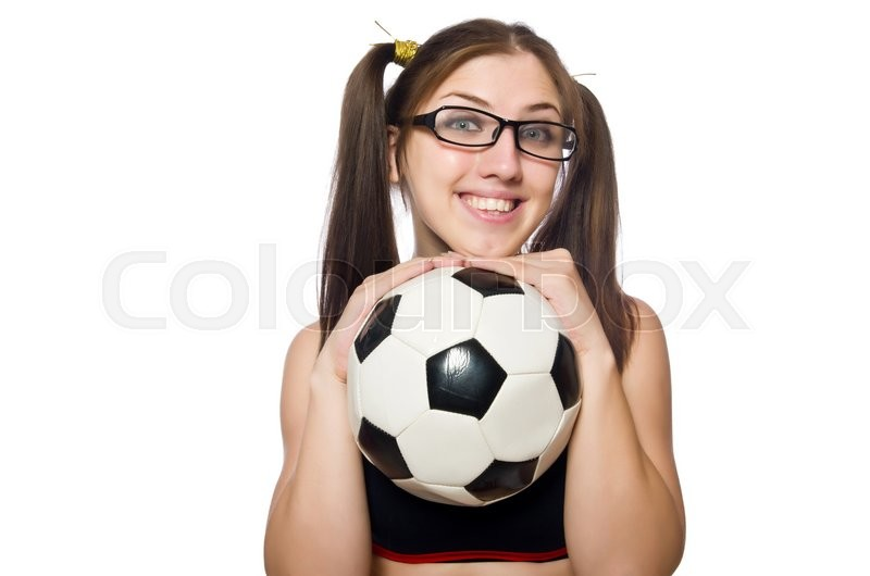 Stock image of 'Woman with football isolated on white'