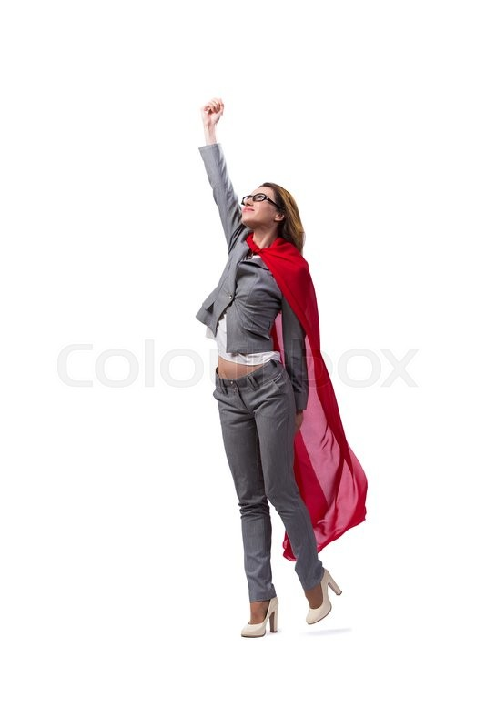 Stock image of 'Young superwoman isolated on white'