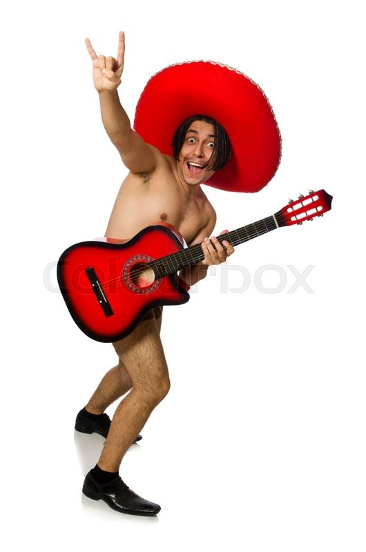 Stock image of 'Nude man with sombrero playing guitar on white'