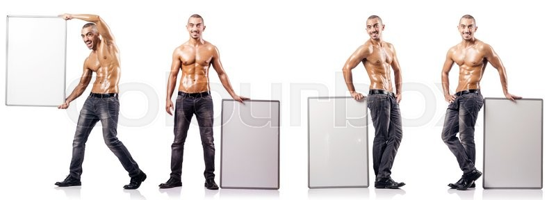 Stock image of 'Man with blank poster on white'