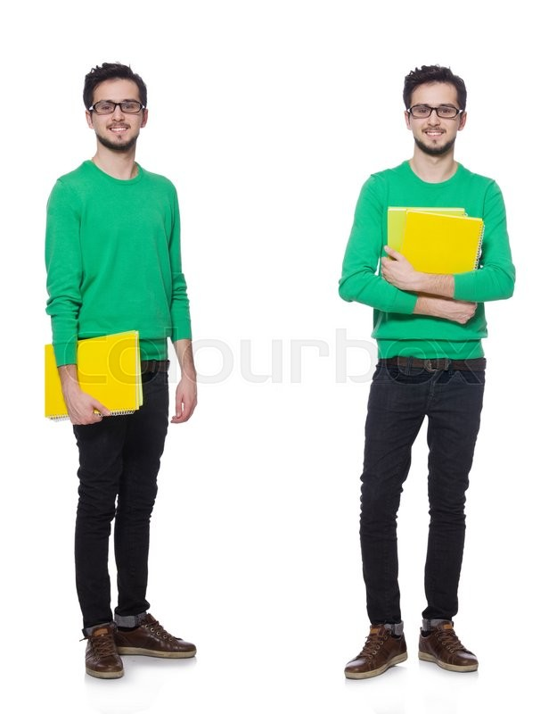 Stock image of 'Collage of student with books on white'