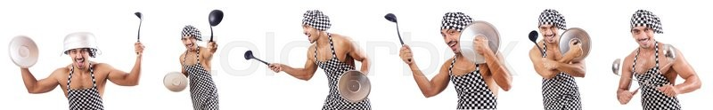 Stock image of 'Sexy male cook isolated on the white'
