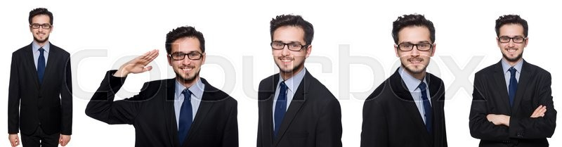 Stock image of 'Collage of funny businessman on white'