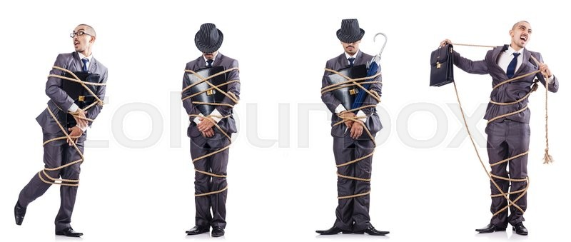 Stock image of 'Man tied up isolated on white'