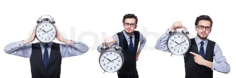 Stock image of 'Collage of businessman with clock on white'