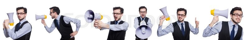 Stock image of 'Collage of young businessman with loudspeaker on white'