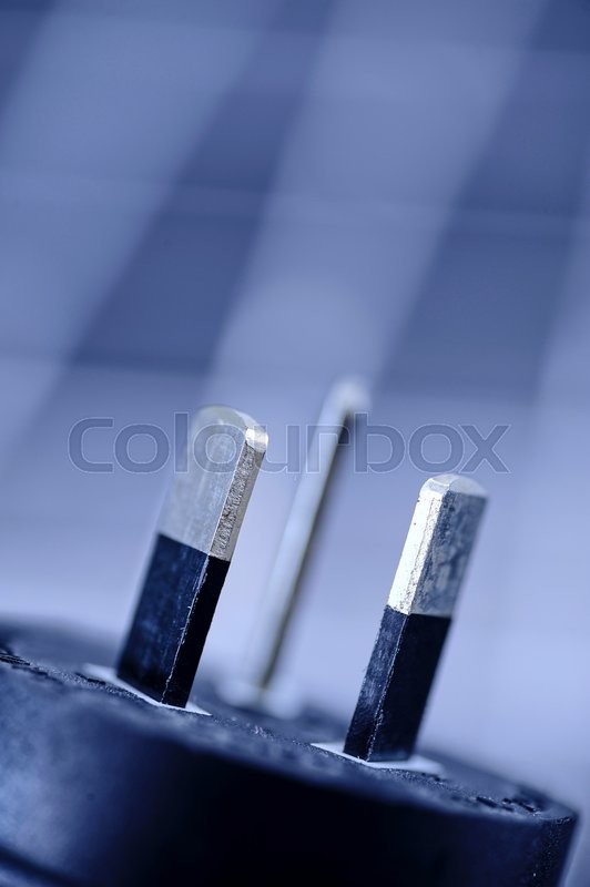 Stock image of 'A studio close up photo of a power plug'