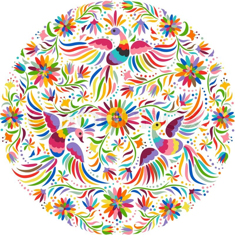 Colorful And Ornate Ethnic Pattern Birds Flowers Light Background Floral With Bright Ornament