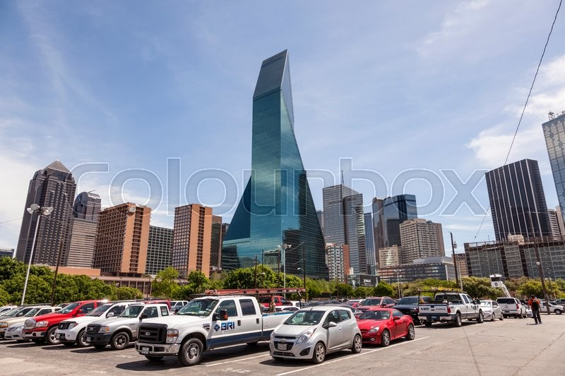 Editorial image of 'DALLAS, USA - APR 7: Wells Fargo Bank building and a parking lot in Dallas Downtown. April 7, 2016 in Dallas, Texas, United States'